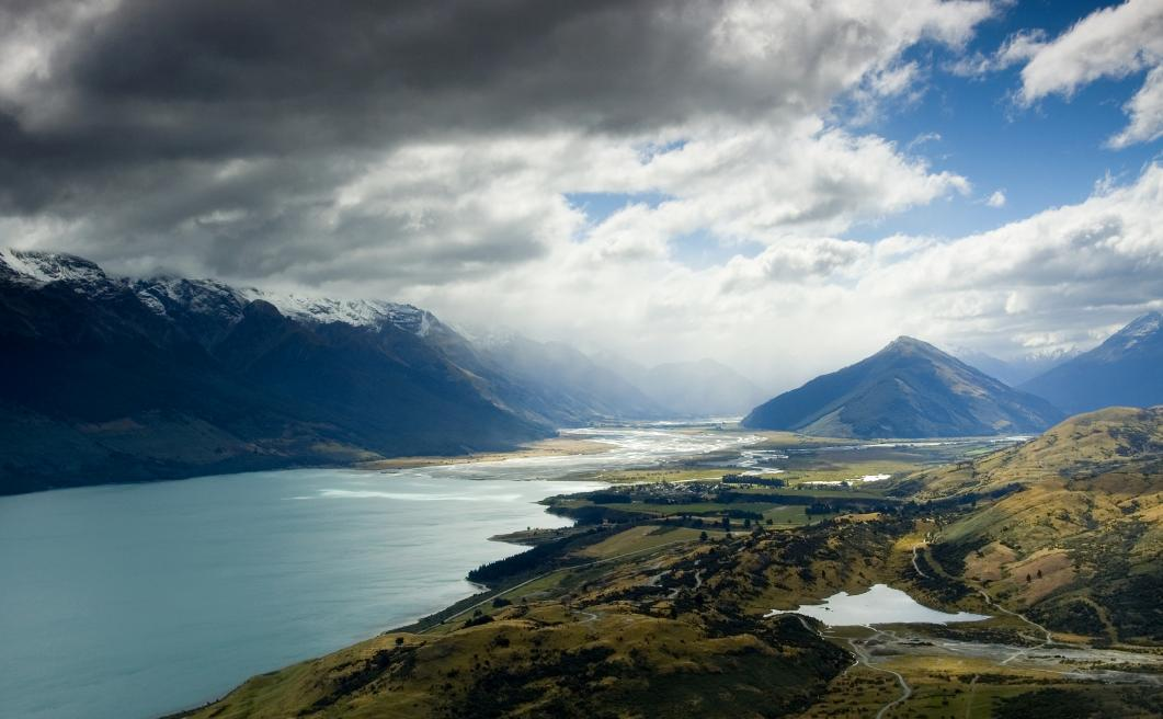 Moody Glenorchy day from above